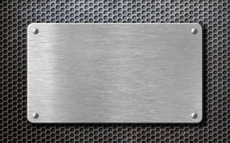 brushed steel metal plate background with rivets