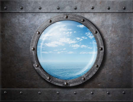 armoring: old ship rusty porthole or window with sea and horizon behind