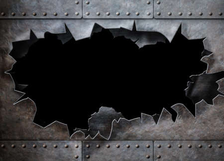 metal background: hole in metal armor steam punk background