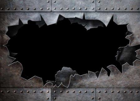 acier: trou dans l'armure de métal steam punk fond