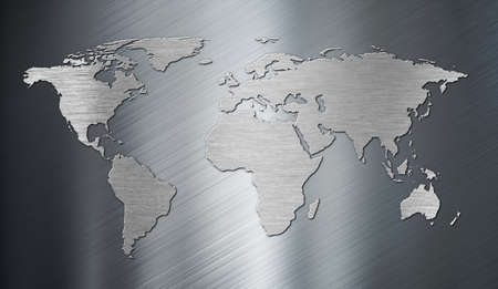 stainless steel: world map on metal plate Stock Photo
