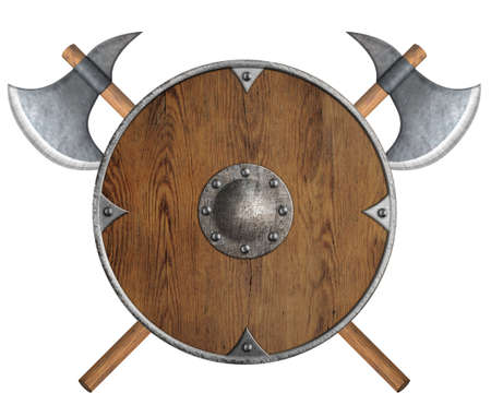 old wooden vikings shield and two crossed axes isolated photo