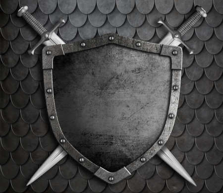 medieval: medieval shield with two crossed swords over scales armour background