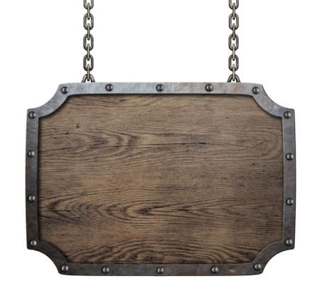 wood medieval sign hanging on chains isolated photo