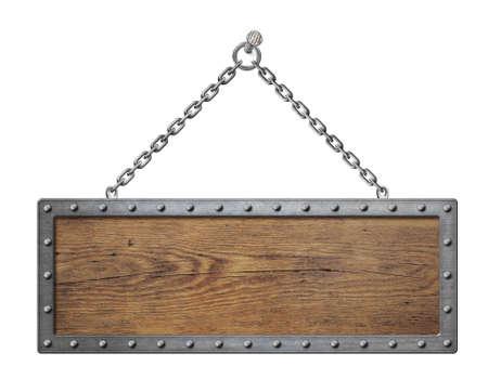 houten bord met metalen ketting geïsoleerd
