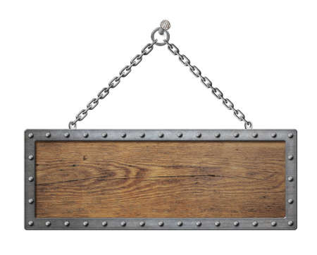 wooden sign board with metal chain isolated photo