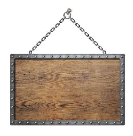 wooden medieval shield or sign with metal frame Standard-Bild
