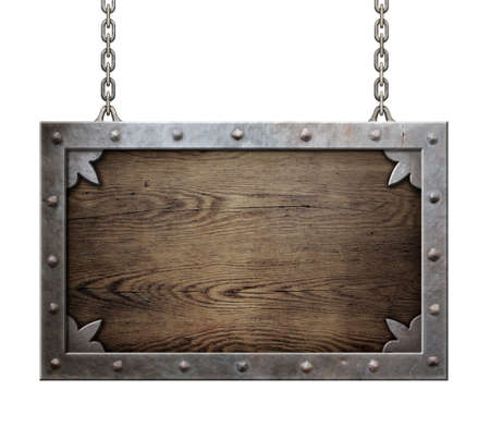 hanging on: wood medieval sign with metal frame isolated Stock Photo