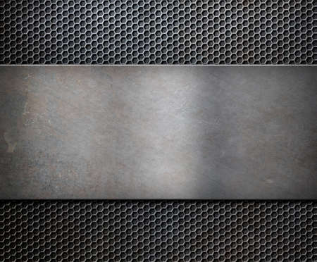 hard alloy: metal rusty plate over grid background