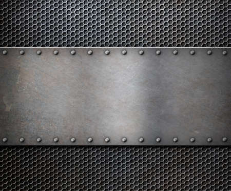 old metal rustic plate over grid background