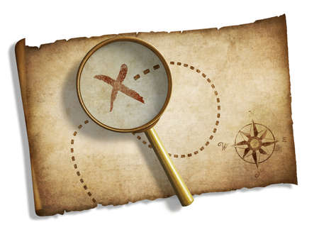 old magnifying glass and pirates treasure map isolated photo