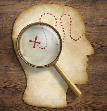 zvětšovací: Brain, vnitřní svět, psychologie, talent průzkumu a objevování koncept.