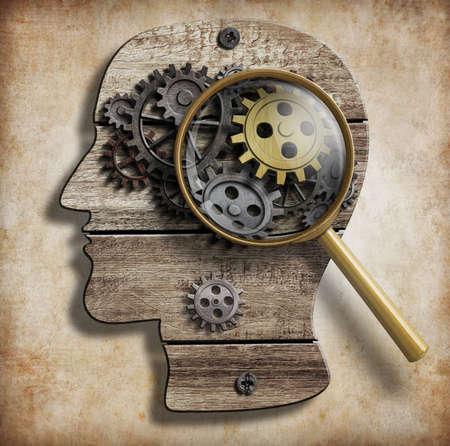 źle: Biegi mózgu i koła zębate. Choroba psychiczna, psychologia, wynalazek i koncepcja pomysł.
