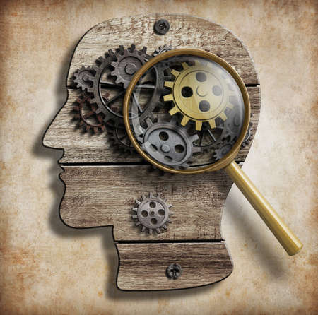 technology symbols metaphors: Brain gears and cogs. Mental illness, psychology, invention and idea concept. Stock Photo