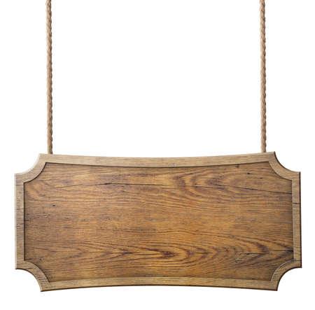 madera: cartel de madera que cuelga en cuerda aislado en el fondo blanco Foto de archivo