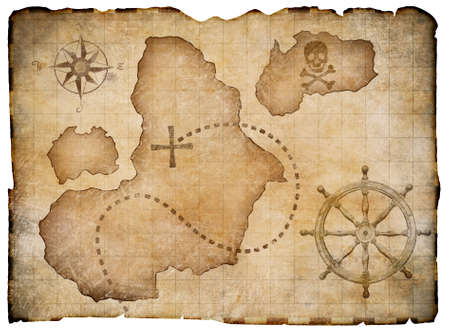 vintage travel: Old pirates parchment treasure map isolated. Clipping path included. Stock Photo