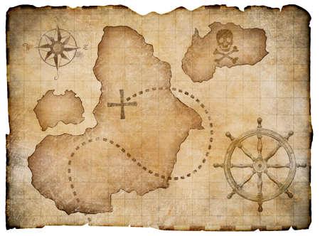 navigazione: Vecchi pirati pergamena mappa del tesoro isolato. Clipping percorso incluso.