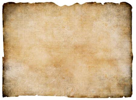 carte trésor: Vieux parchemin vierge carte au trésor isolé. Chemin de détourage est inclus.