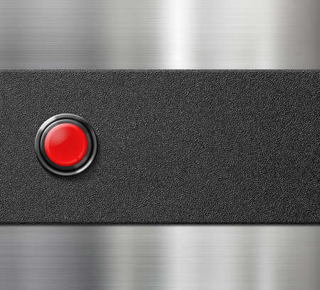 blank button: start engine red blank button on black plastic and metal background Stock Photo