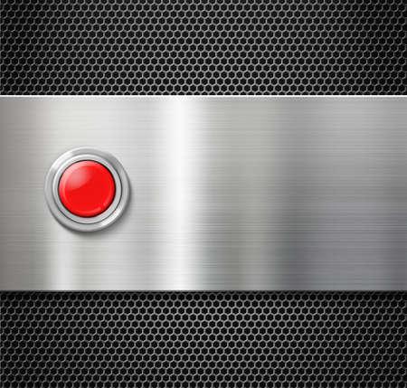 Starten rote Taste auf Metallplatte Hintergrund Standard-Bild - 36478826