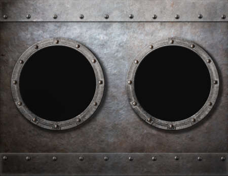 armoring: submarine or old ship two portholes metal frames background