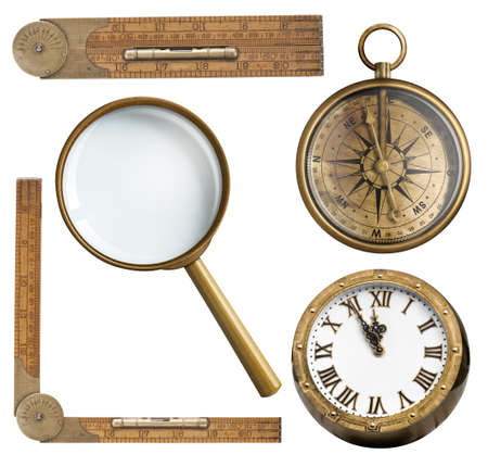magnifying glass icon: Vintage accessories set. Clock, magnifying glass, compass and ruler isolated