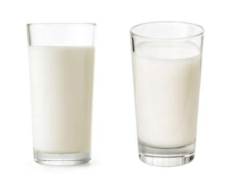 ミルク セット含まれるクリッピングパスは絶縁のガラス 写真素材