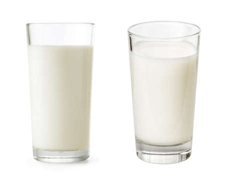 Glass of milk set isolated with clipping path included