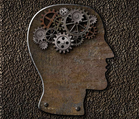 mental work: Metal brain gears and cogs. Mental illness, psychology, invention and idea concept. Stock Photo