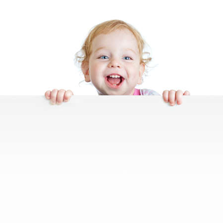 happy kids: Baby boy showing blank placard with copy space isolated Stock Photo