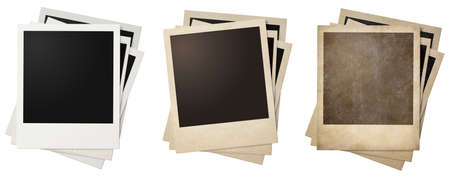 vintage grunge image: old and new photo frames stacks isolated Stock Photo