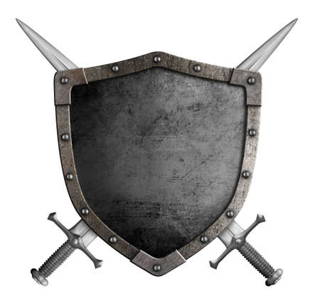 armour: coat of arms medieval knight shield and crossed swords isolated