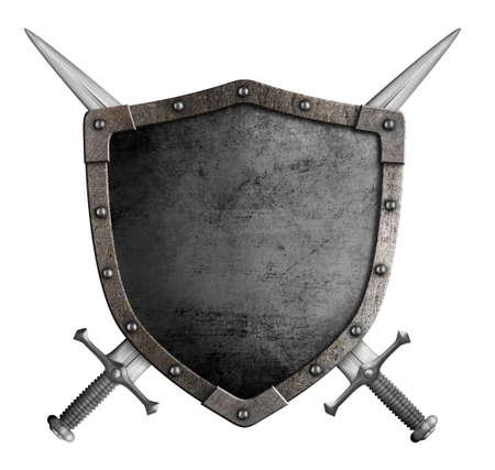 medievales: escudo de armas del escudo de caballero medieval y espadas cruzadas aislados