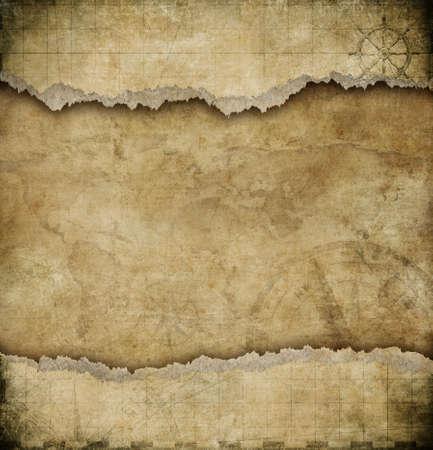 brujula antigua: mapa de fondo antiguo desgarrado papel de la vendimia Foto de archivo