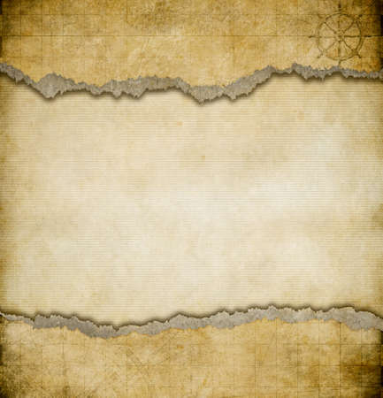 ancient scroll: grunge torn paper vintage map background