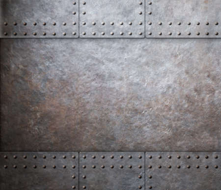 steel metal armor background with rivets Imagens