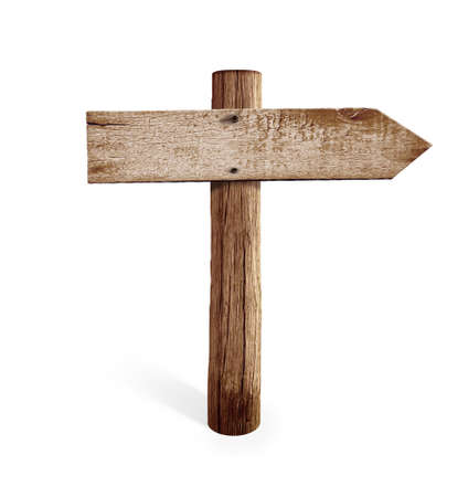 old wooden right arrow road sign isolated