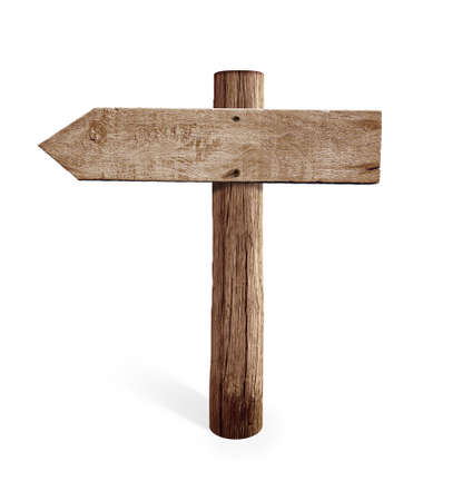 old sign: old wooden left arrow road sign isolated