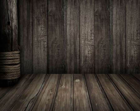 Old wooden scene as pirates theme background Stock Photo