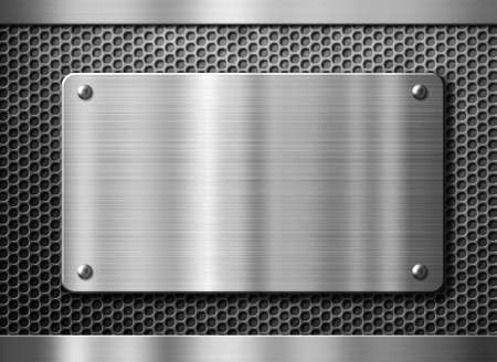nameboard: stainless steel metal plate or nameboard background
