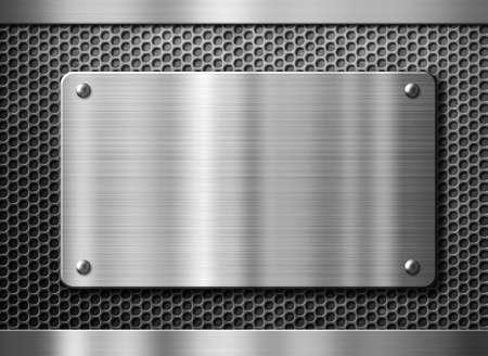 rivet metal: stainless steel metal plate or nameboard background