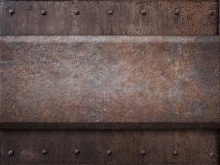 armoring: rusty tank armor metal texture with rivets as steam punk background