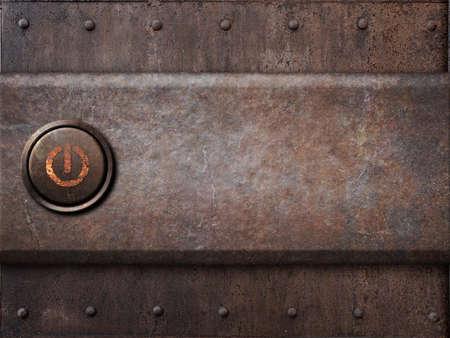 powerbutton: bot�n de encendido en la textura de metal oxidado como fondo steam punk