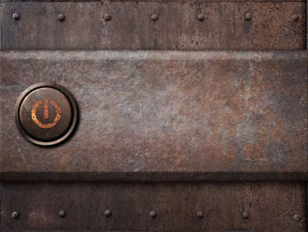 poweron: power button on rusty metal texture as steam punk background