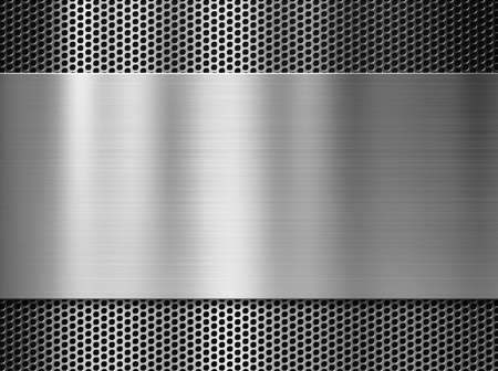 steel background: steel or aluminum metal plate over grill background Stock Photo
