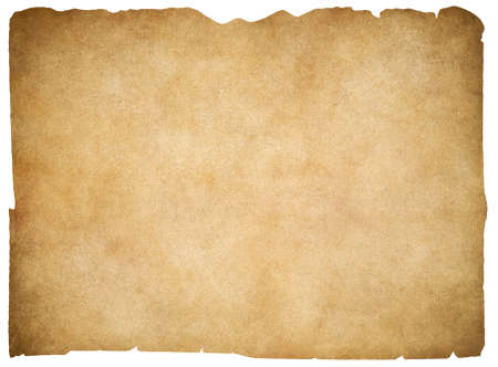 blank paper: Old blank parchment or paper isolated. Clipping path is included. Stock Photo