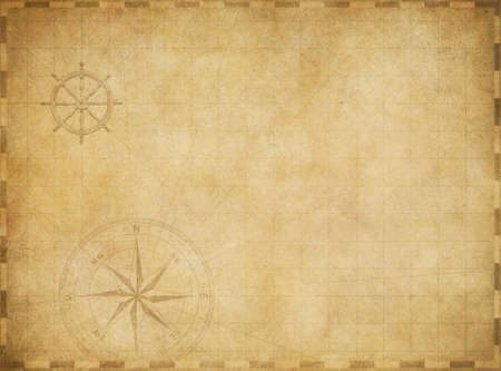 old blank vintage nautical map on worn parchment background Stock Photo