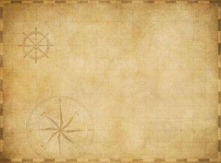 treasure map: viejo mapa náutico de la vendimia en blanco sobre fondo de pergamino desgastado