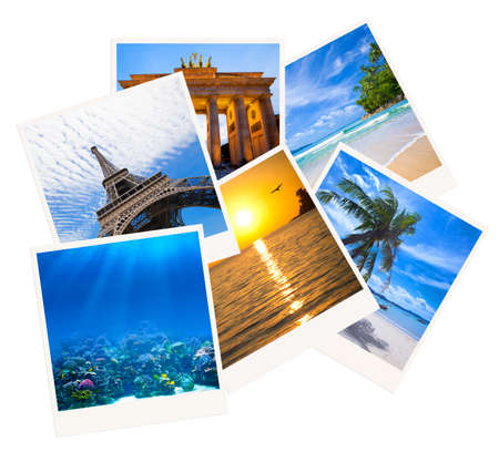 Various travel photo collage isolated on white background photo