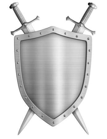 caballero medieval: escudo de armas del escudo de caballero medieval y espadas cruzadas aislados